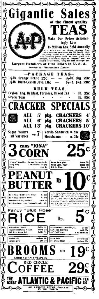 A_and_P_newspaper_ad_1922