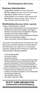 Bookkeeping card back