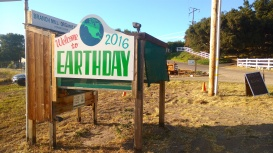 Welcome to EARTH DAY 2016 sign on the Branch Mill Organic Farm Stand.